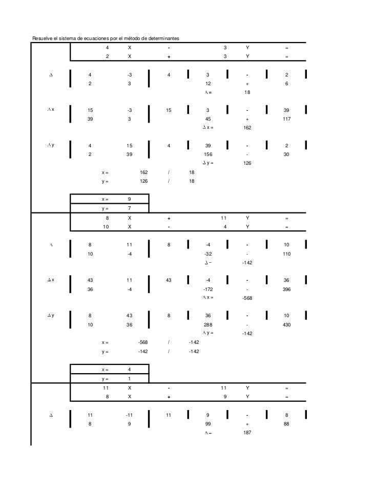 Resuelve el sistema de ecuaciones por el método de determinantes              9                 4        X                ...