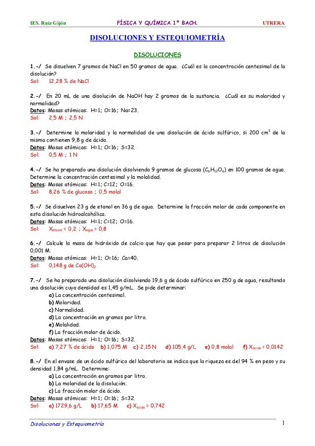 ejercicios estequiometria 2 bachillerato pdf