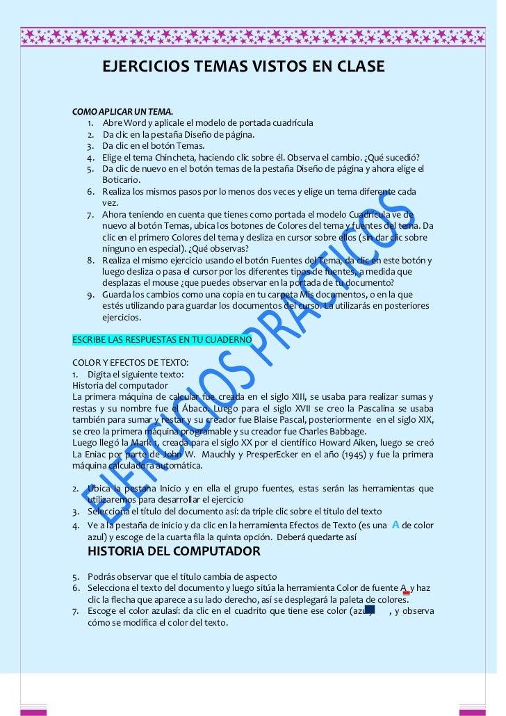EJERCICIOS TEMAS VISTOS EN CLASECOMO APLICAR UN TEMA.   1. Abre Word y aplícale el modelo de portada cuadrícula   2. Da cl...