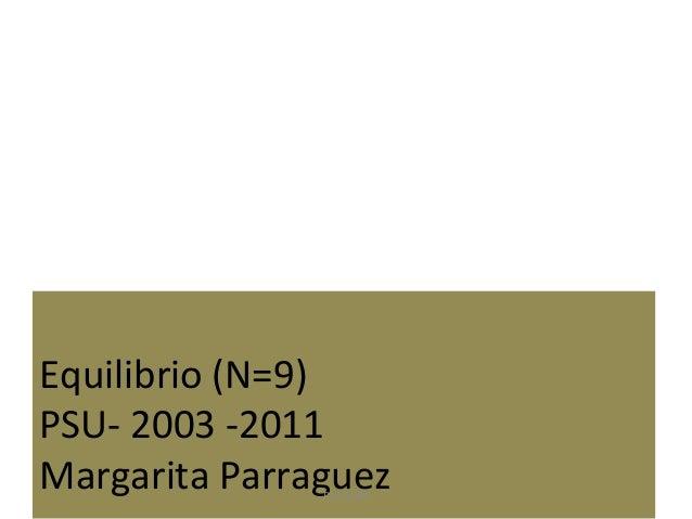 Equilibrio (N=9) PSU- 2003 -2011 Margarita ParraguezPSU-2009