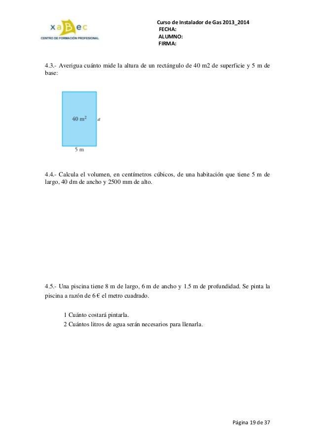 Ejercicios gas 2103 14 for Cuantos litros de agua caben en una piscina