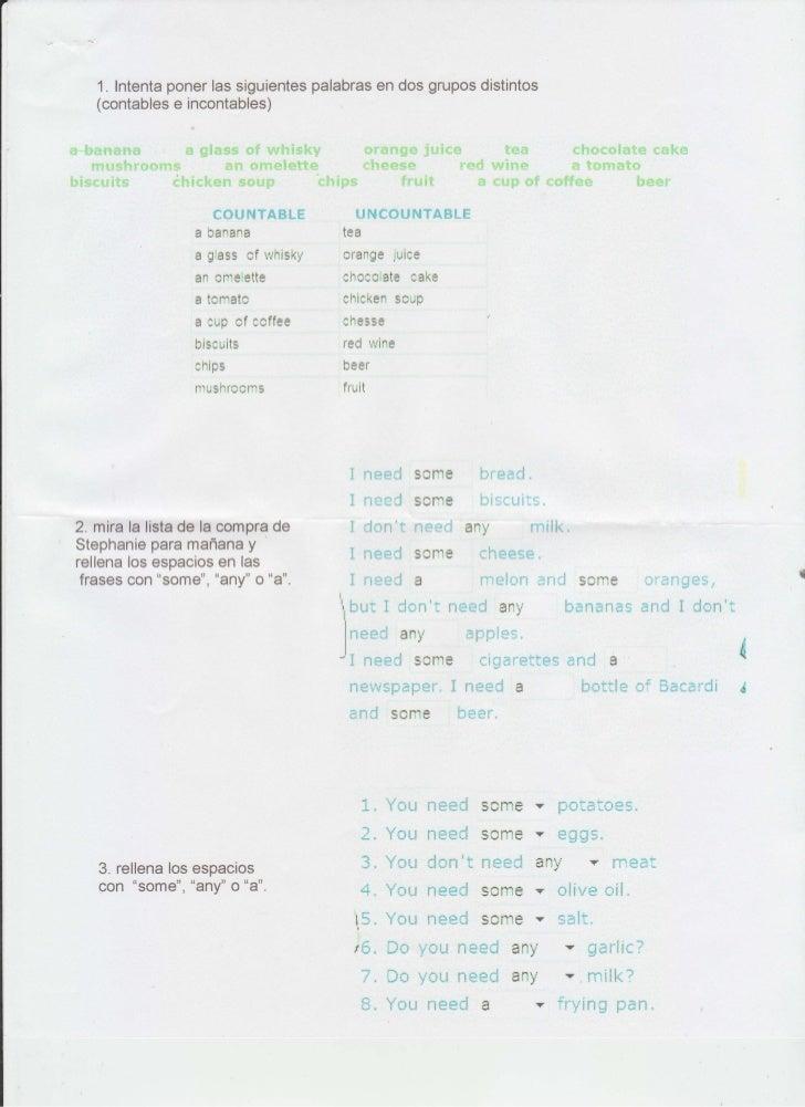 """,7        1. Intenta poner las siguientes palabras en dos grupos distintos        (contables e incontables)     *-b*-lt""""ne..."""
