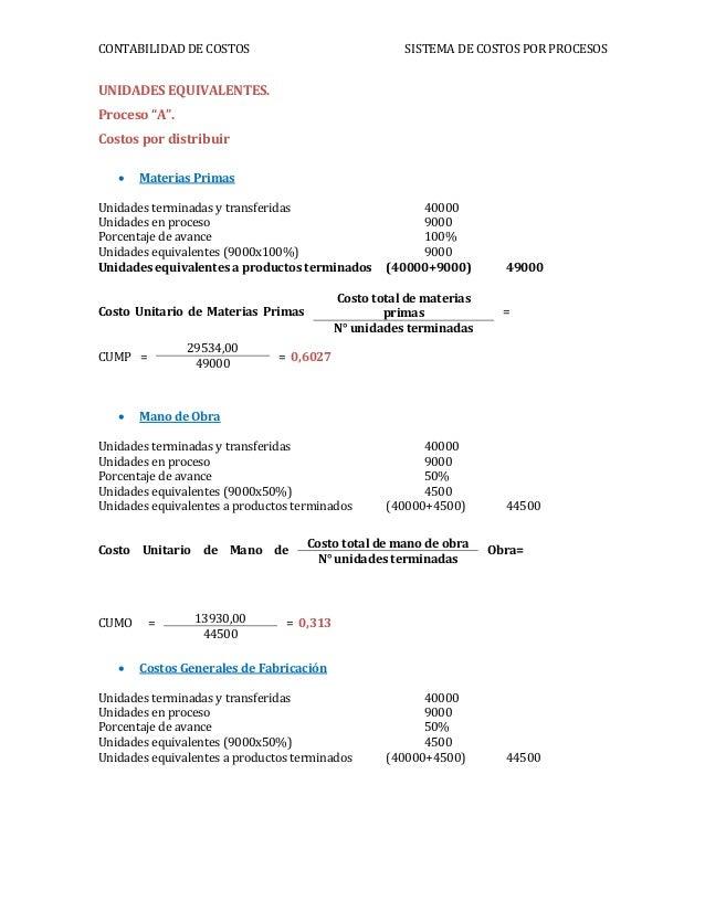 """CONTABILIDAD DE COSTOS SISTEMA DE COSTOS POR PROCESOSUNIDADES EQUIVALENTES.Proceso """"A"""".Costos por distribuir Materias Pri..."""
