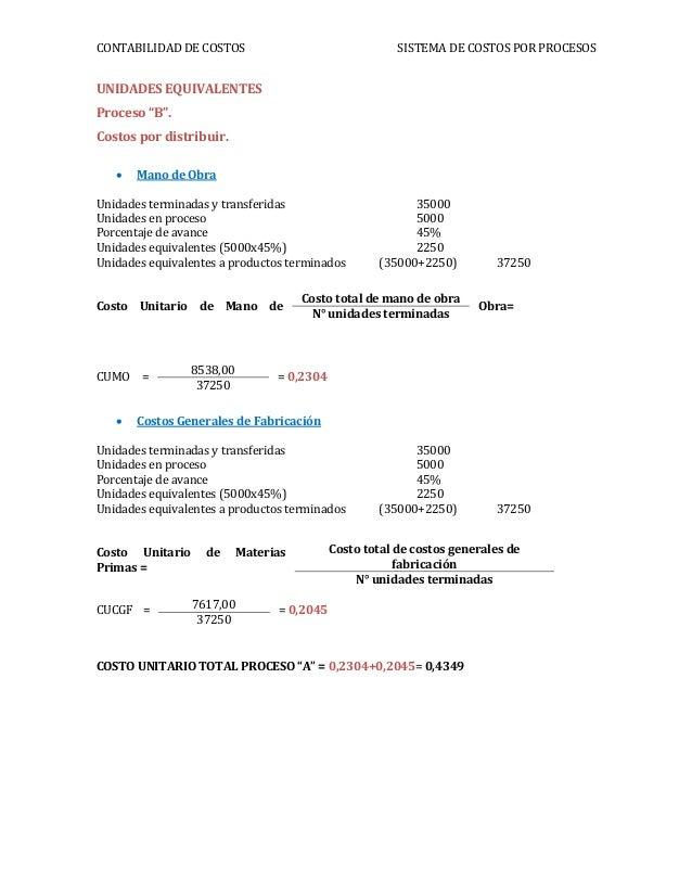 """CONTABILIDAD DE COSTOS SISTEMA DE COSTOS POR PROCESOSUNIDADES EQUIVALENTESProceso """"B"""".Costos por distribuir. Mano de Obra..."""