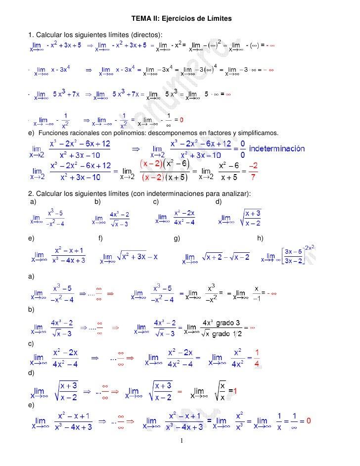 TEMA II: Ejercicios de Límites1. Calcular los siguientes límites (directos):e) Funciones racionales con polinomios: descom...