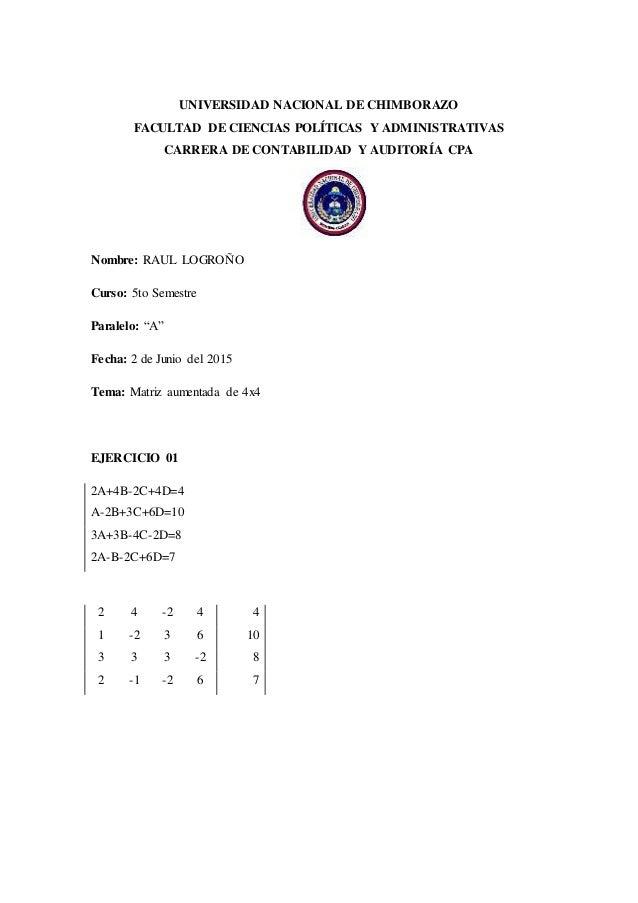 UNIVERSIDAD NACIONAL DE CHIMBORAZO FACULTAD DE CIENCIAS POLÍTICAS Y ADMINISTRATIVAS CARRERA DE CONTABILIDAD Y AUDITORÍA CP...