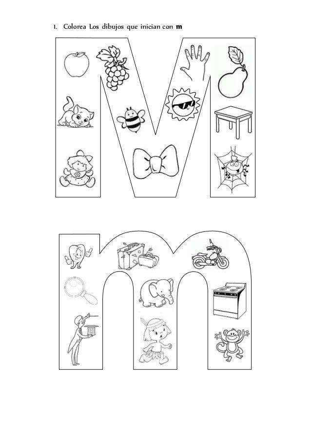 1. Colorea Los dibujos que inician con m