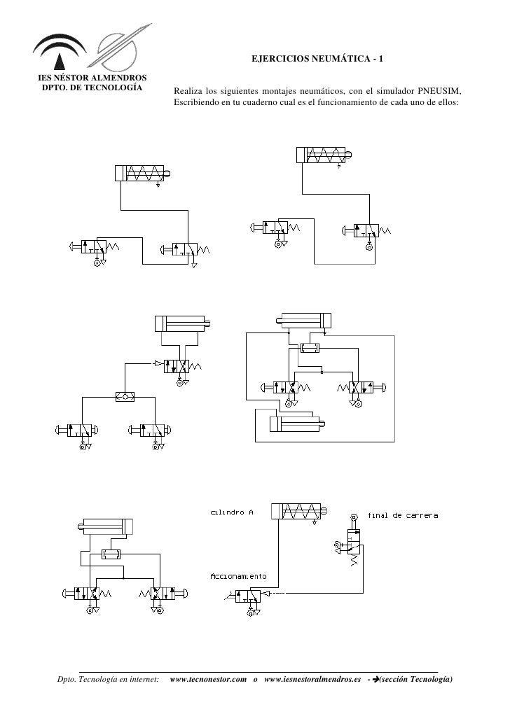 EJERCICIOS NEUMÁTICA - 1 IES NÉSTOR ALMENDROS  DPTO. DE TECNOLOGÍA               Realiza los siguientes montajes neumático...