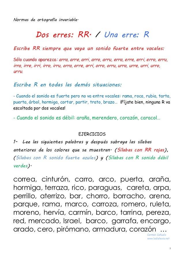 1 Normas de ortografía invariable. Dos erres: RR. / Una erre: R Escribe RR siempre que vaya un sonido fuerte entre vocales...