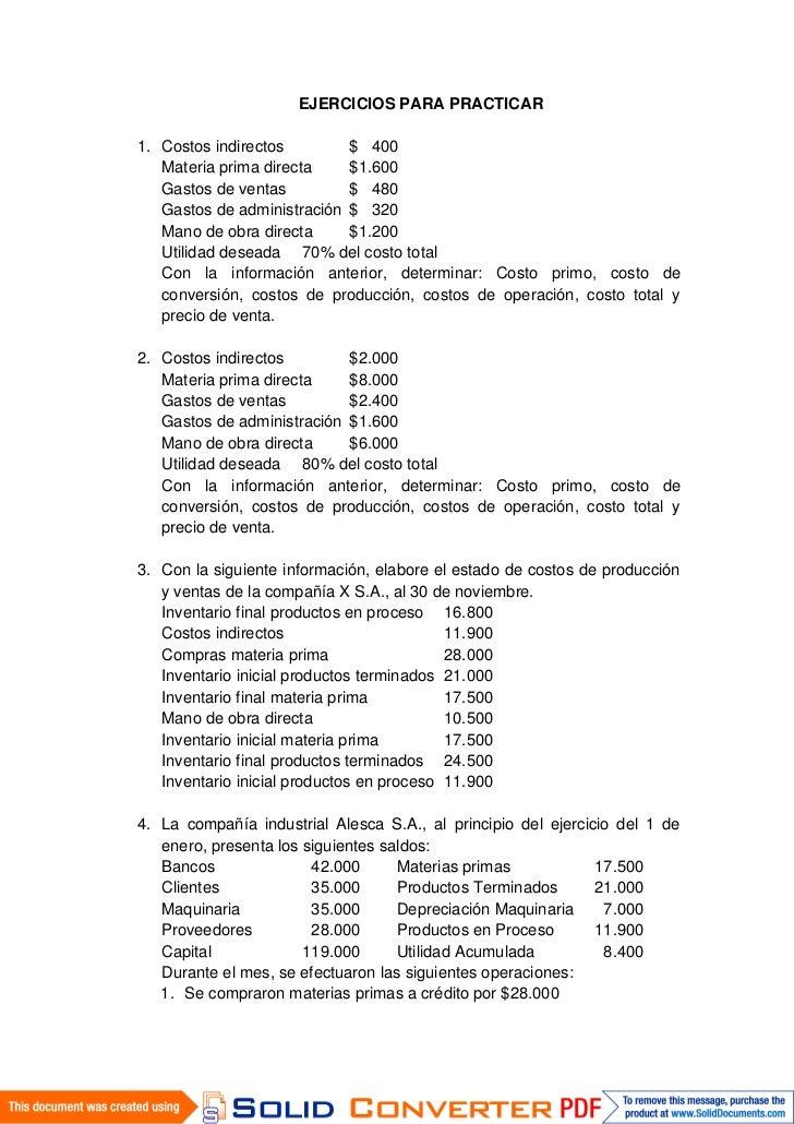 Ejercicios para practicar costos jav for 1 costo del garage