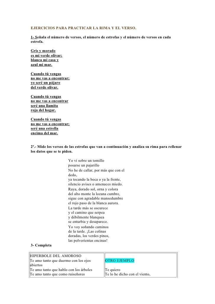 EJERCICIOS PARA PRACTICAR LA RIMA Y EL VERSO.  1- Señala el número de versos, el número de estrofas y el número de versos ...