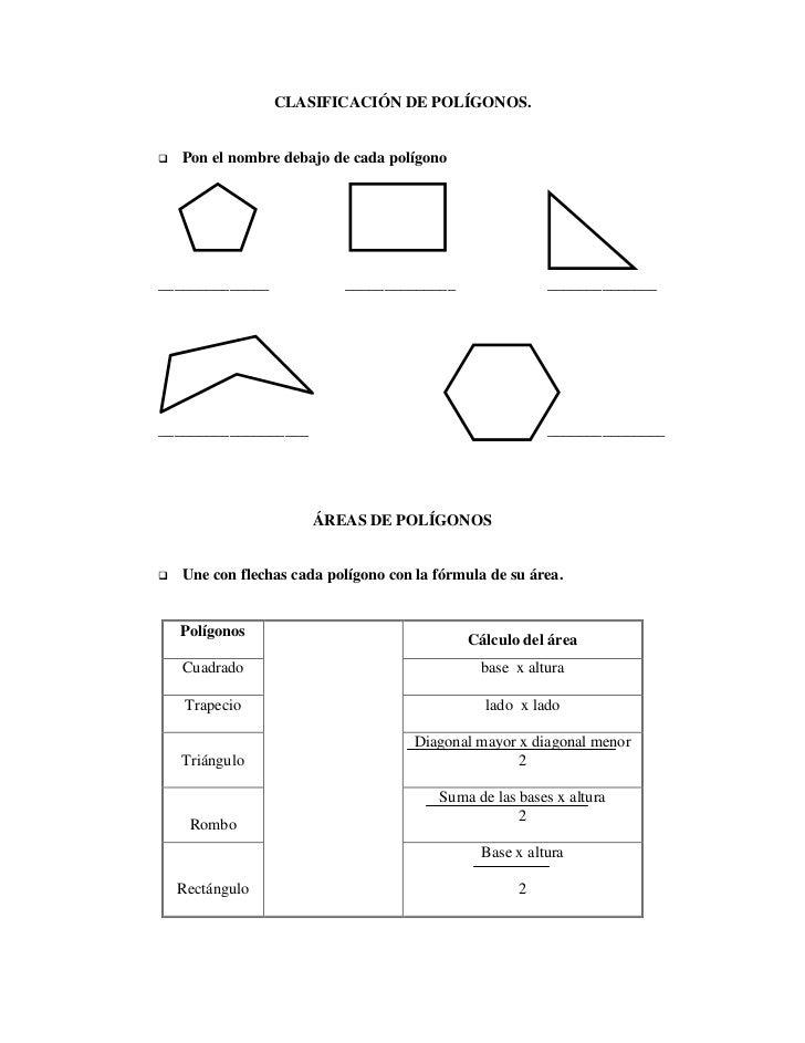 CLASIFICACIÓN DE POLÍGONOS.   Pon el nombre debajo de cada polígono______________             ______________             ...