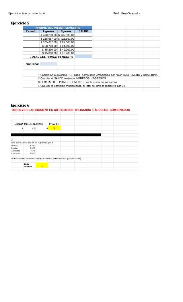 Ejercicios Practicos de Excel Prof. Efren Saavedra Ejercicio 5 INFORME DEL PRIMER SEMESTRE Período Ingresos Egresos SALDO ...