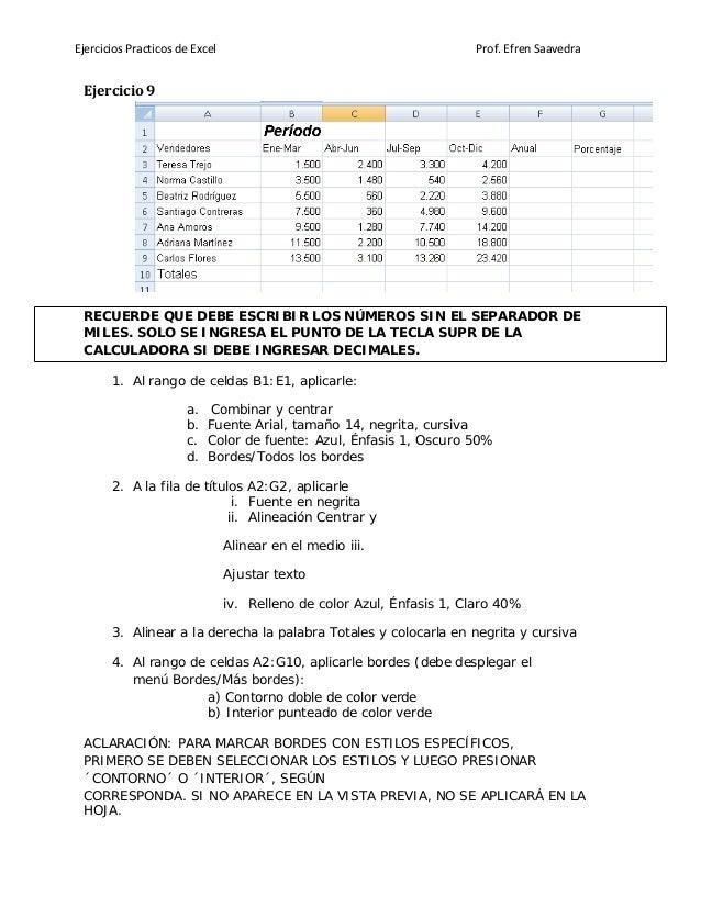 Ejercicios Practicos de Excel Prof. Efren Saavedra Ejercicio 9 RECUERDE QUE DEBE ESCRIBIR LOS NÚMEROS SIN EL SEPARADOR DE ...