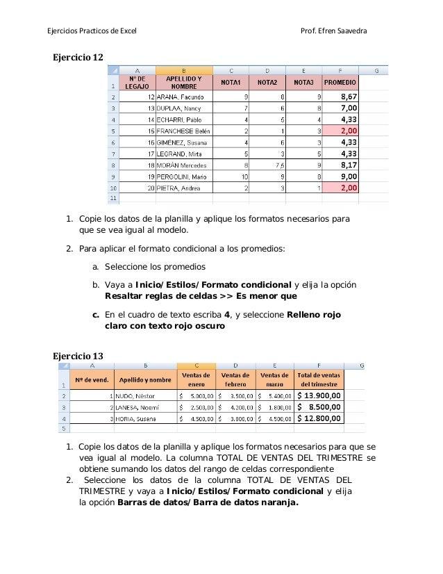 Ejercicios Practicos de Excel Prof. Efren Saavedra Ejercicio 12 1. Copie los datos de la planilla y aplique los formatos n...