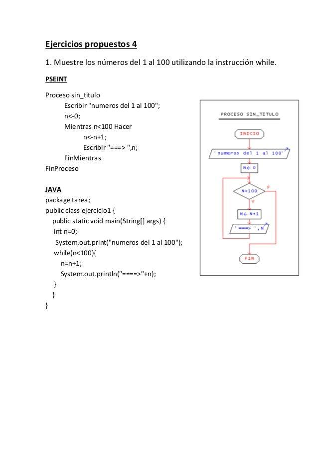 Ejercicios propuestos 4 1. Muestre los números del 1 al 100 utilizando la instrucción while. PSEINT Proceso sin_titulo Esc...