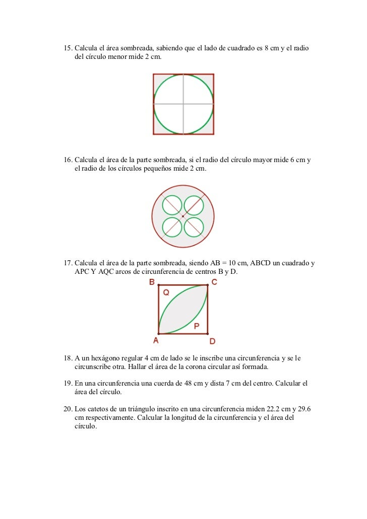 15. Calcula el área sombreada, sabiendo que el lado de cuadrado es 8 cm y el radio    del círculo menor mide 2 cm.16. Calc...