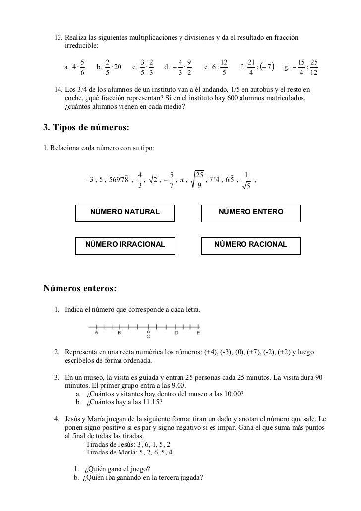 13. Realiza las siguientes multiplicaciones y divisiones y da el resultado en fracción       irreducible:       a.        ...