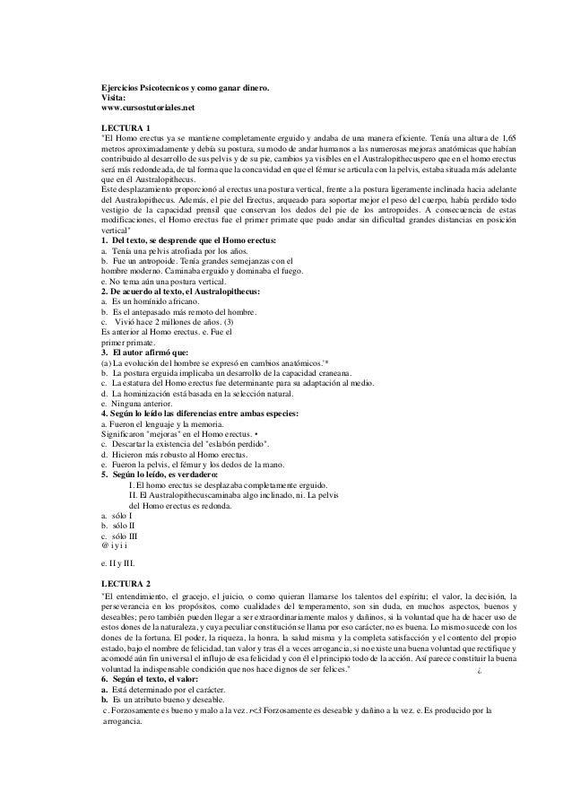 """Ejercicios Psicotecnicos y como ganar dinero.Visita:www.cursostutoriales.netLECTURA 1""""El Homo erectus ya se mantiene compl..."""