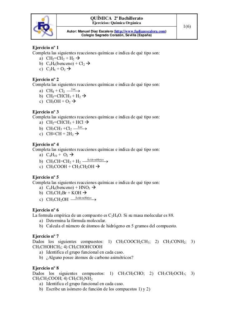 QUÍMICA 2º Bachillerato                                 Ejercicios: Química Orgánica                                      ...
