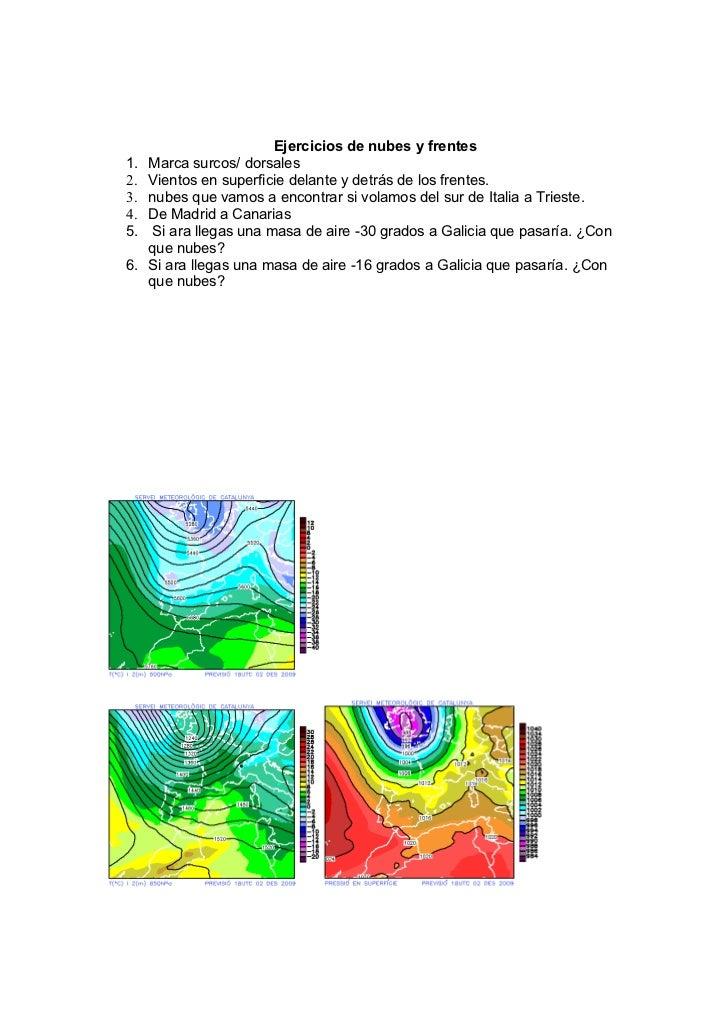 Ejercicios de nubes y frentes1.   Marca surcos/ dorsales2.   Vientos en superficie delante y detrás de los frentes.3.   nu...