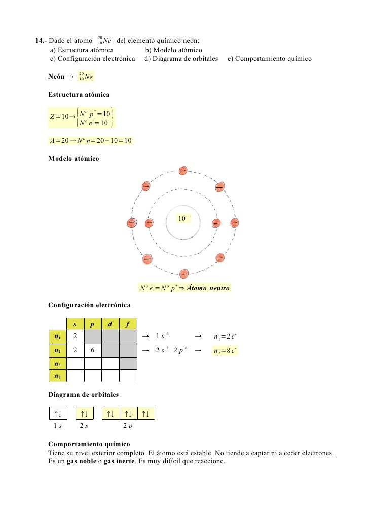 17 14 dado el tomo 20 ne del elemento qumico nen