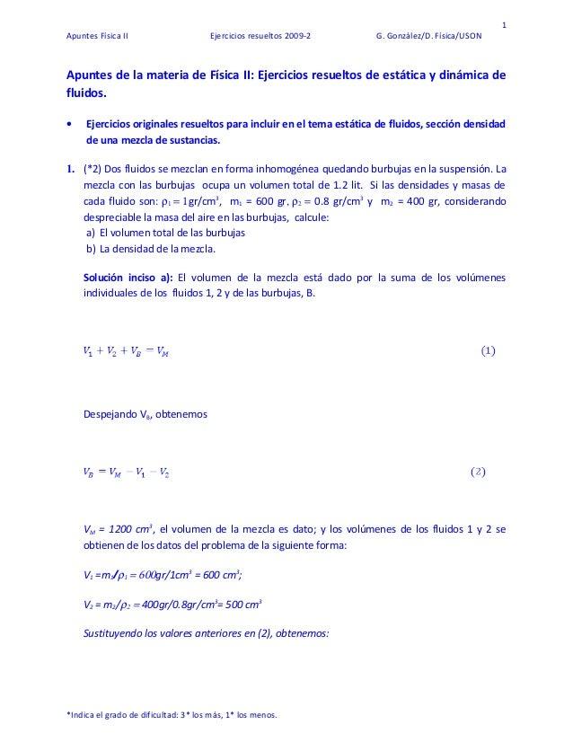 1 Apuntes Física II Ejercicios resueltos 2009-2 G. González/D. Física/USON Apuntes de la materia de Física II: Ejercicios ...