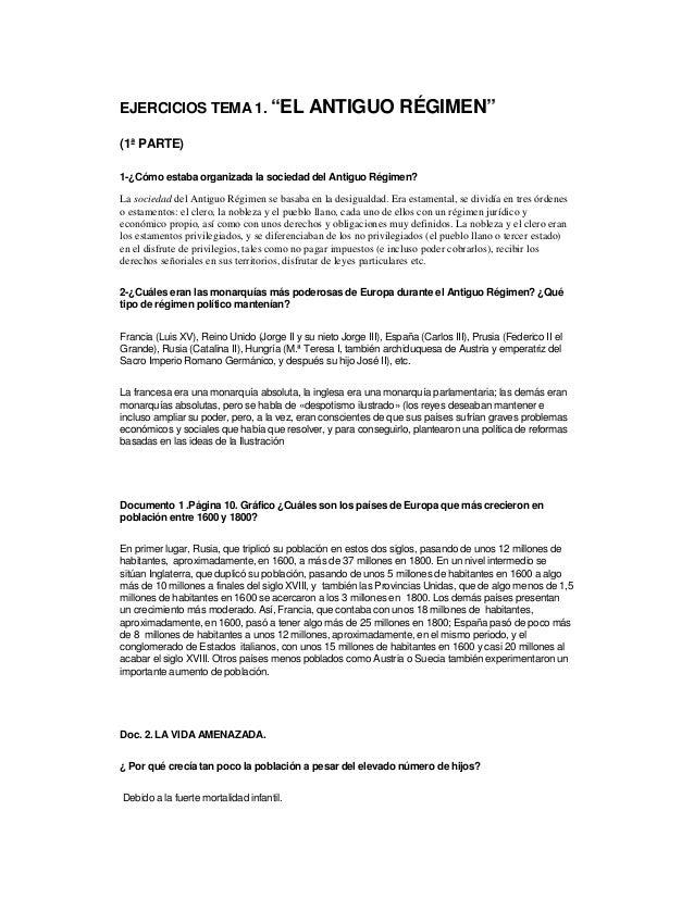 """EJERCICIOS TEMA 1. """"EL ANTIGUO RÉGIMEN"""" (1ª PARTE) 1-¿Cómo estaba organizada la sociedad del Antiguo Régimen? La sociedad ..."""