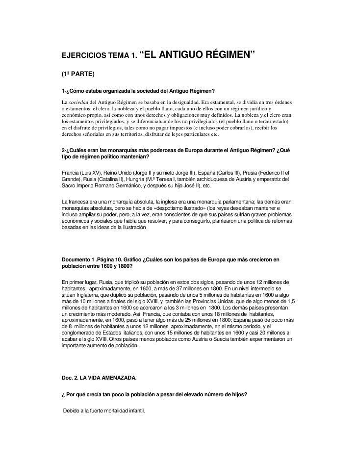 """EJERCICIOS TEMA 1. """"EL                       ANTIGUO RÉGIMEN"""" (1ª PARTE)  1-¿Cómo estaba organizada la sociedad del Antigu..."""