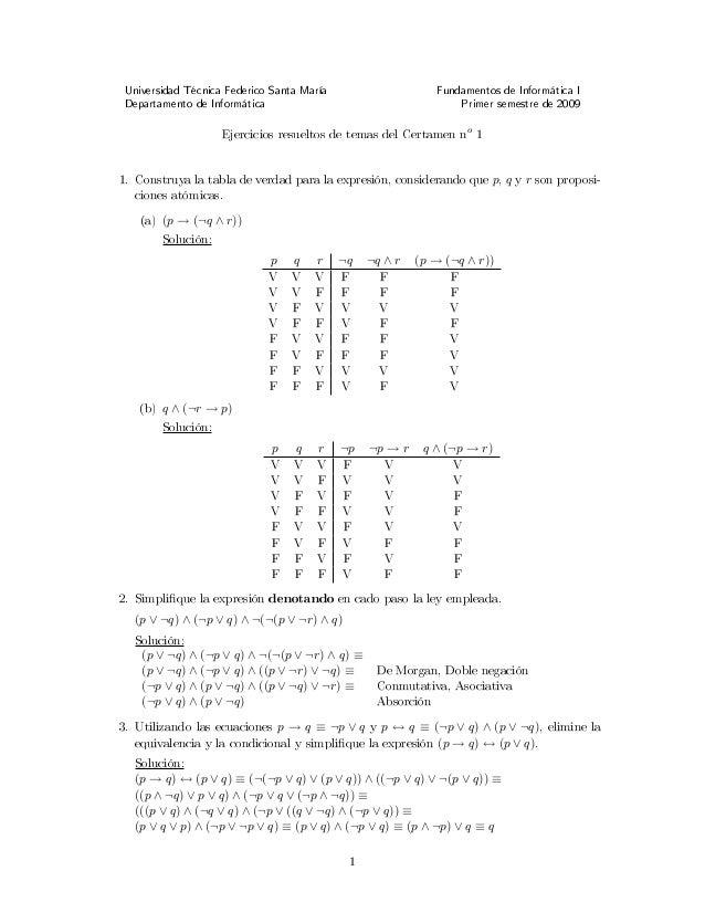 Universidad Técnica Federico Santa María Fundamentos de Informática I Departamento de Informática Primer semestre de 2009 ...