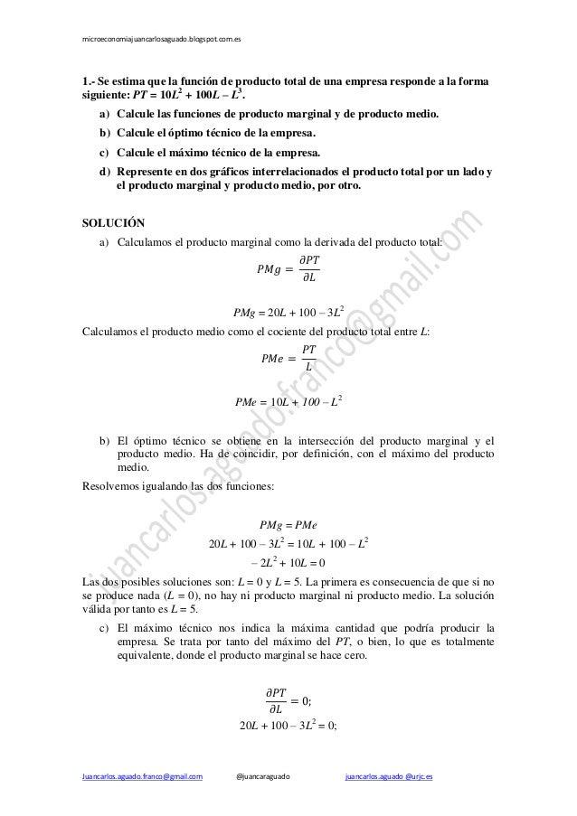 microeconomiajuancarlosaguado.blogspot.com.es  1.- Se estima que la función de producto total de una empresa responde a la...