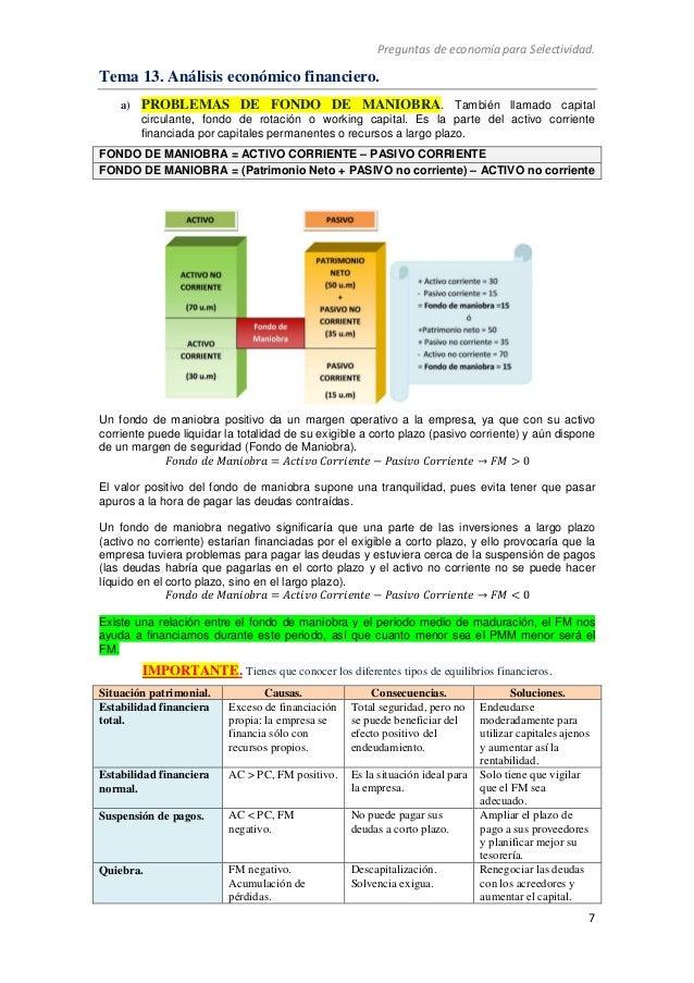 Preguntas de economía para Selectividad. 7 Tema 13. Análisis económico financiero. a) PROBLEMAS DE FONDO DE MANIOBRA. Tamb...