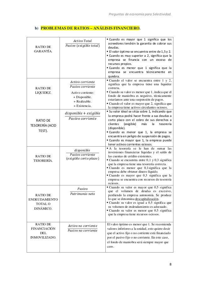 Preguntas de economía para Selectividad. 8 b) PROBLEMAS DE RATIOS – ANÁLISIS FINANCIERO. RATIO DE GARANTÍA. ݈ܽݐܶݒ݅ݐܿܣ...