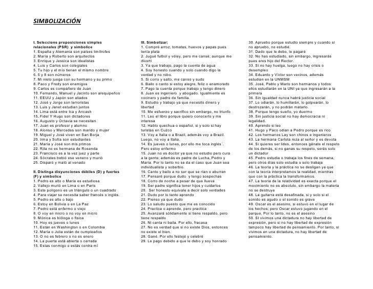 SIMBOLIZACIÓN  I. Seleccione proposiciones simples                  III. Simbolizar:                                      ...