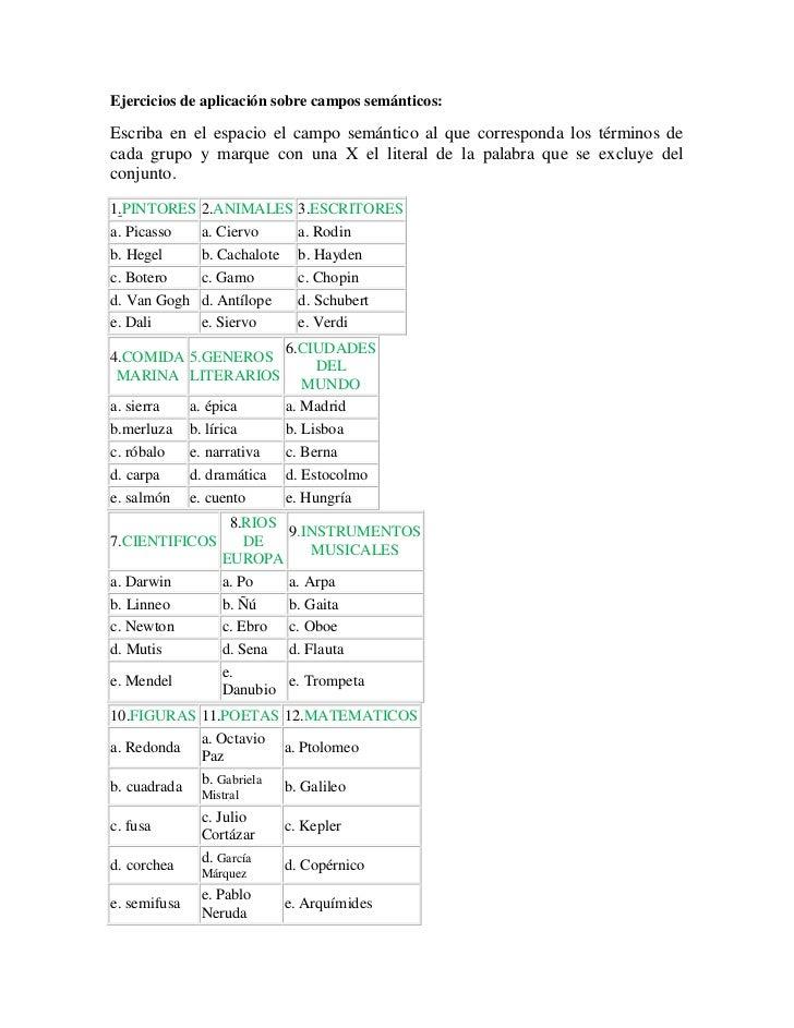 Ejercicios de aplicación sobre campos semánticos:Escriba en el espacio el campo semántico al que corresponda los términos ...