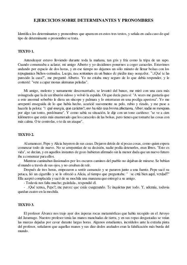 EJERCICIOS SOBRE DETERMINANTES Y PRONOMBRESIdentifica los determinantes y pronombres que aparecen en estos tres textos, y ...