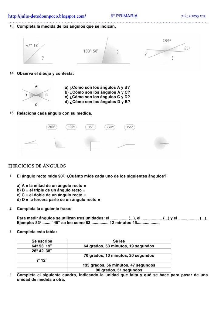 Los ángulos Ejercicios + Solucionario