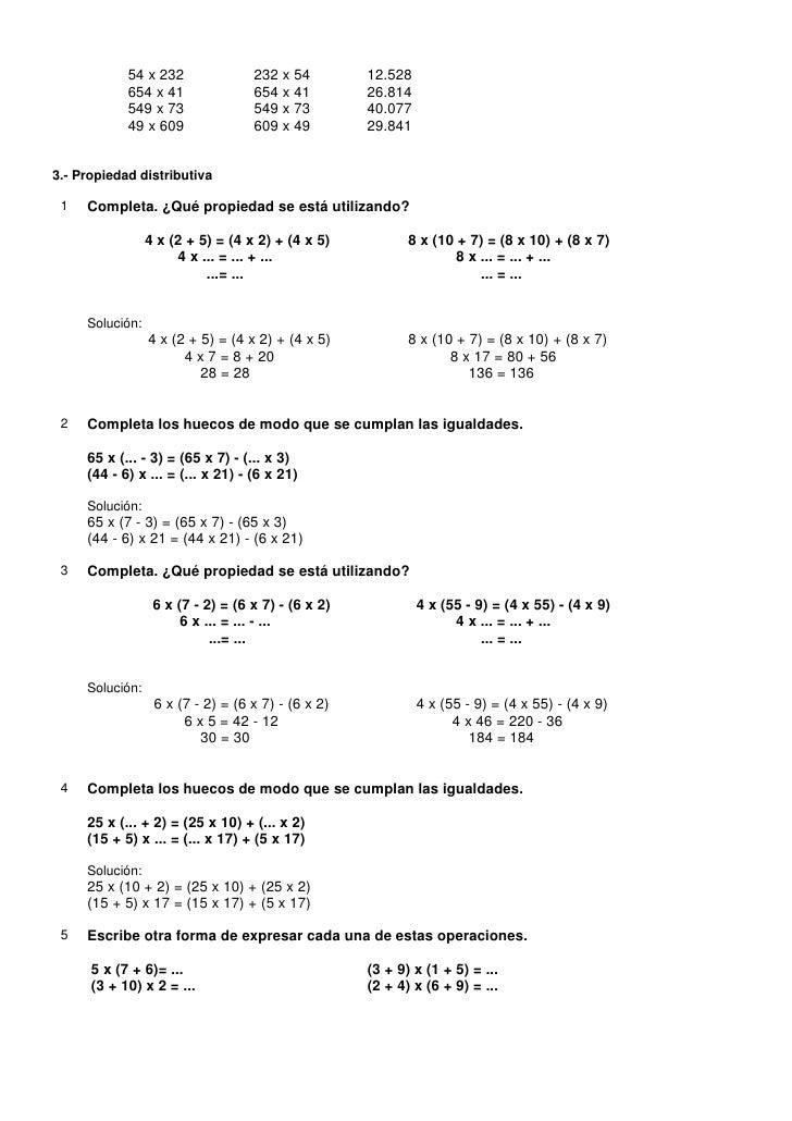 Ejercicios + solucionario La Multiplicación