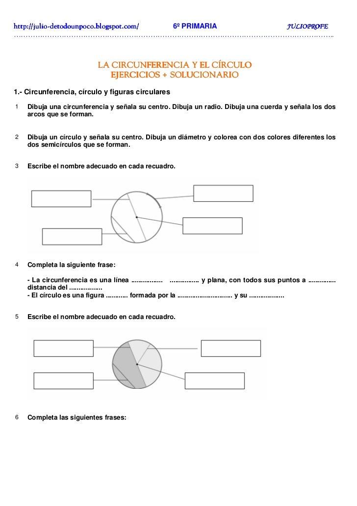 Ejercicios + solucionarios circunferencia y círculo