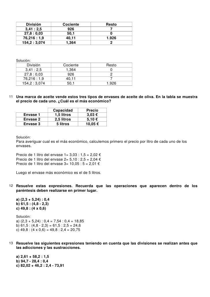 Ejercicios + solucionarios números decimales