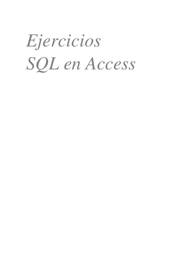 Ejercicios SQL en Access