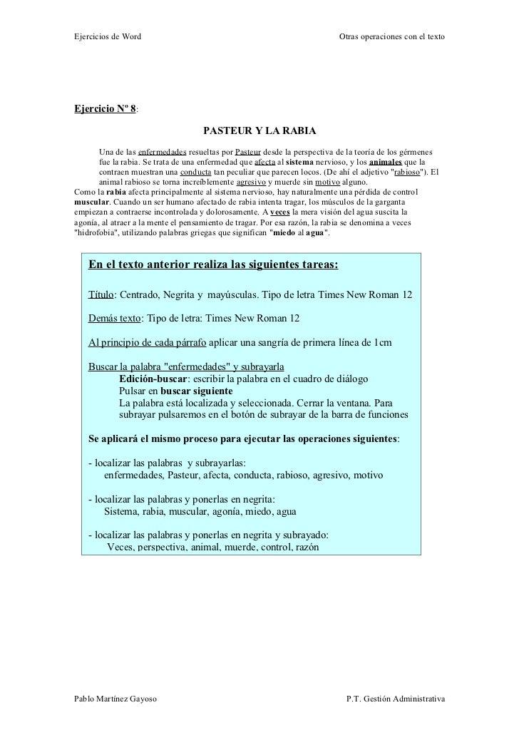 Ejercicios de Word                                                         Otras operaciones con el textoEjercicio Nº 8:  ...