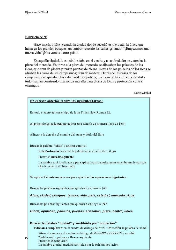 Ejercicios de Word                                                    Otras operaciones con el textoEjercicio Nº 9:      H...