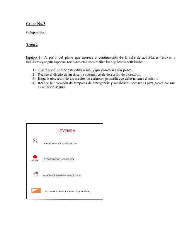 Grupo No. 5 Integrantes: Tema 2.- Equipo 1.- A partir del plano que aparece a continuación de la sala de actividades festi...