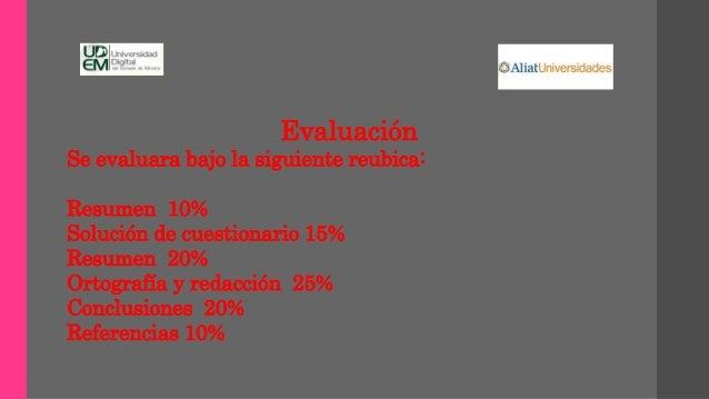 Evaluación Se evaluara bajo la siguiente reubica: Resumen 10% Solución de cuestionario 15% Resumen 20% Ortografía y redacc...