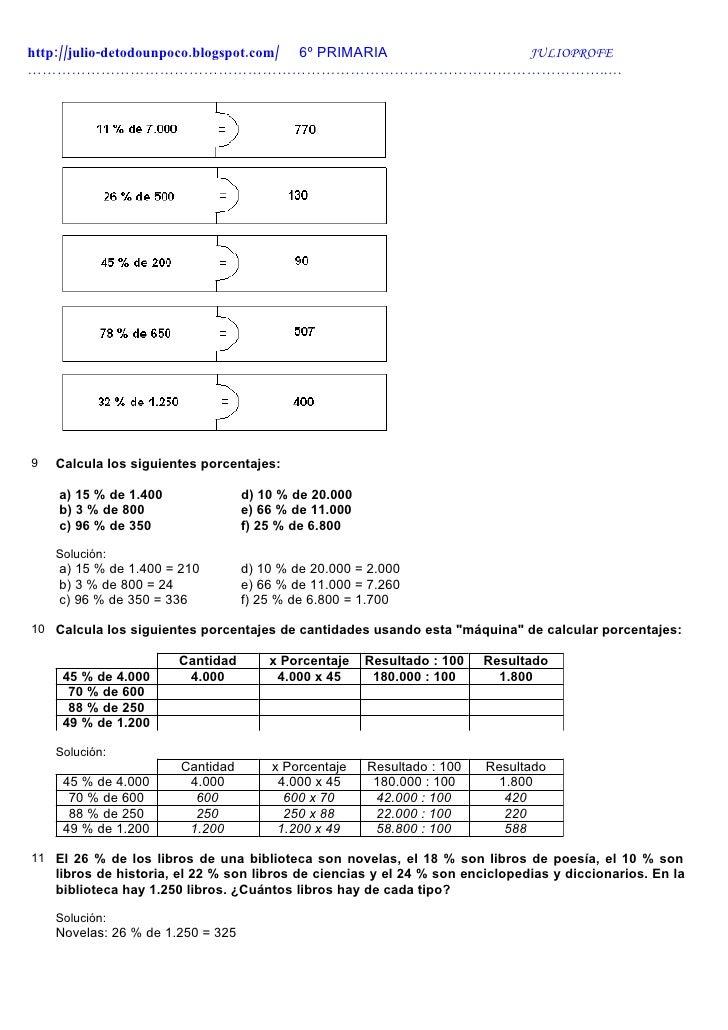 Proporcionesy porcentajes Ejercios + Solucionario