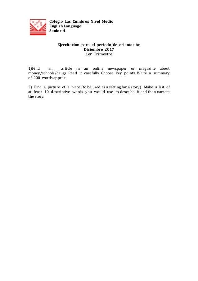 ColegioLasCumbresNivelMedio  EnglishLanguage Senior4   Ejercitaci�nparaelper�ododeori...