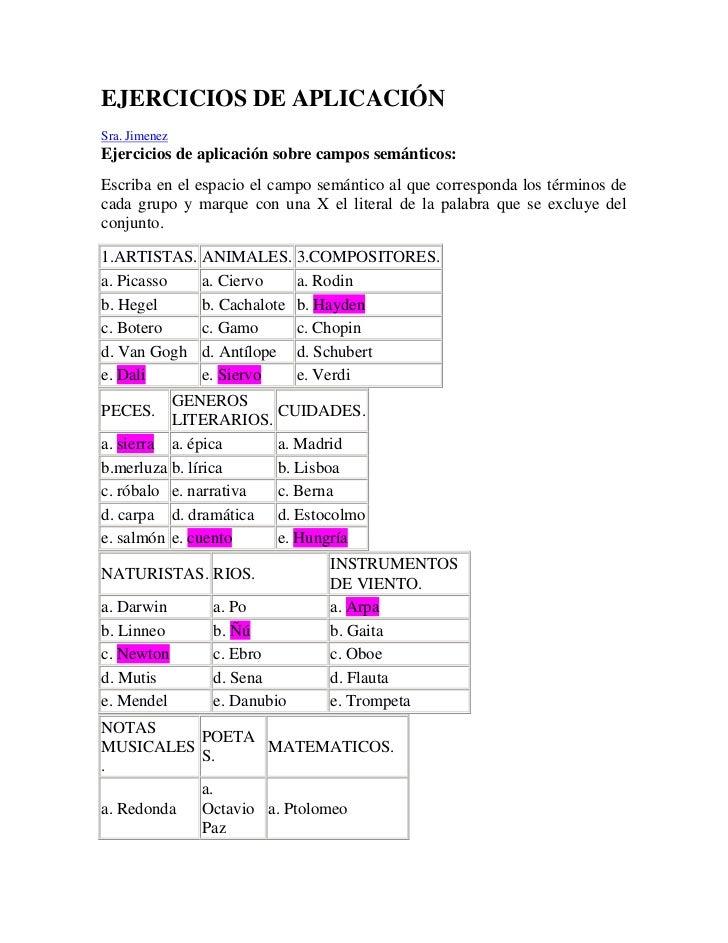 EJERCICIOS DE APLICACIÓN<br />Sra. Jimenez <br />Ejercicios de aplicación sobre campos semánticos: <br />Escriba en el e...