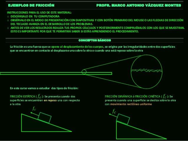 EJEMPLOS DE FRICCIÓN                                                PROFR. MARCO ANTONIO VÁZQUEZ MONTESINSTRUCCIONES PARA ...