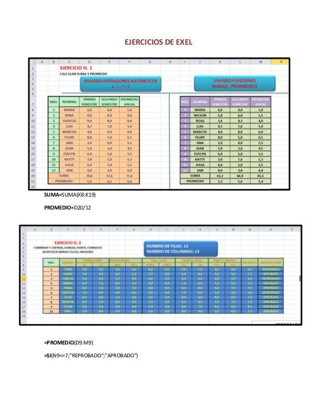 """EJERCICIOS DE EXEL  SUMA=SUMA(K8:K19)  PROMEDIO=D20/12  =PROMEDIO(D9:M9)  =SI(N9<=7;""""REPROBADO"""";""""APROBADO"""")"""